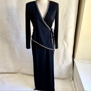 Vintage 70s 80s M Lady Gaga Long Formal Wrap Dress